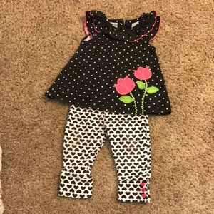 Baby girl black and white outfit